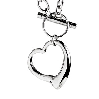 ELYA Stainless Steel Cable Chain Open Heart Toggle Necklace