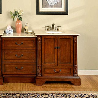 Silkroad Exclusive 55.5-inch Cream Stone Top Bathroom Vanity