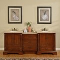 Silkroad Exclusive 87-inch Cream Top Bathroom Double Sink Vanity