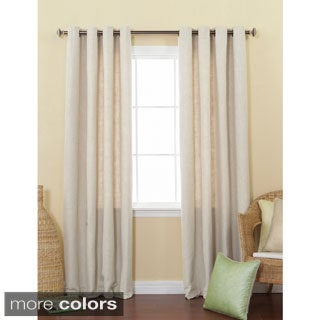 Aurora Home Solid Heavyweight Faux Linen 84-inch Grommet Top Curtain Panel Pair