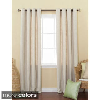 Solid Heavyweight Faux Linen 84-inch Grommet Top Curtain Panel Pair