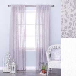 Branch Pattern Sheer Burnout 84-inch Rod Pocket Curtain Panel Pair