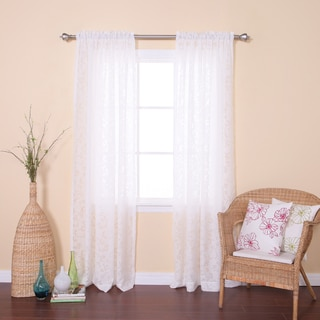 Vine Burnout Sheer Rod Pocket 84-inch Curtain Panel Pair