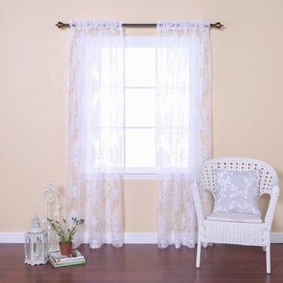 Damask Burnout Sheer Rod Pocket 84-inch Curtain Panel Pair