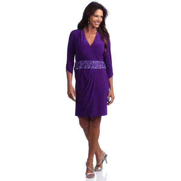 Alex Evenings 3/4 Sleeve Surplice Neckline Short Dress with Beaded Applique Waistband