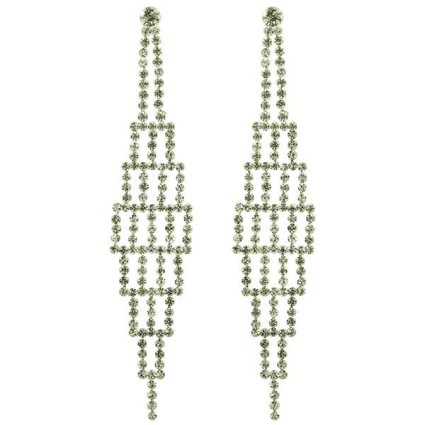 Kate Marie Silvertone White Rhinestone Fashion Earrings