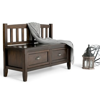 WYNDENHALL Portland Espresso Brown Entryway 2-drawer Storage Bench