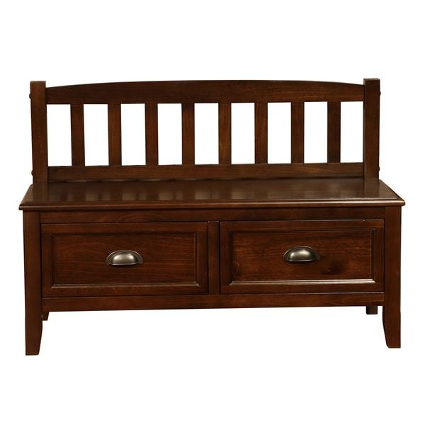 Overstock Foyer Bench : Portland espresso brown entryway drawer storage bench