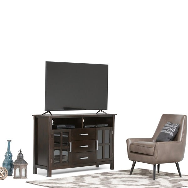 wyndenhall waterloo walnut brown tall tv stand 15535873