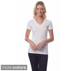AtoZ Women's Short Sleeve V-neck Cotton T-shirt