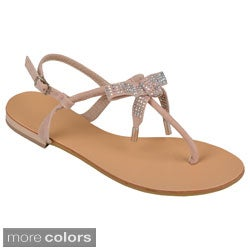 Journee Collection Women's 'Ambra' Bow Accent T-strap Sandals
