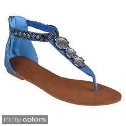 Journee Collection Women's 'Armin' Bejeweled T-strap Sandals