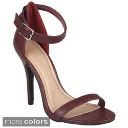 Journee Collection Women's 'Enzo-01' Open Toe Ankle Strap Stilettos