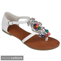 Journee Collection Women's 'Jaxon' Bejeweled T-strap Sandals