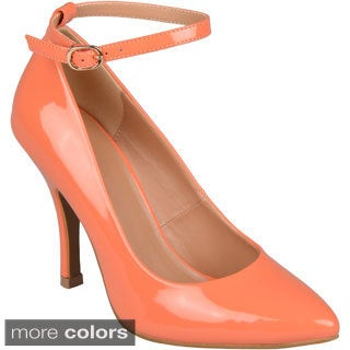 Journee Collection Women's 'Mary' Almond Toe Ankle Strap Pumps