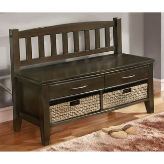 Langley Collection Walnut Brown Entryway 4-Drawer Storage Bench
