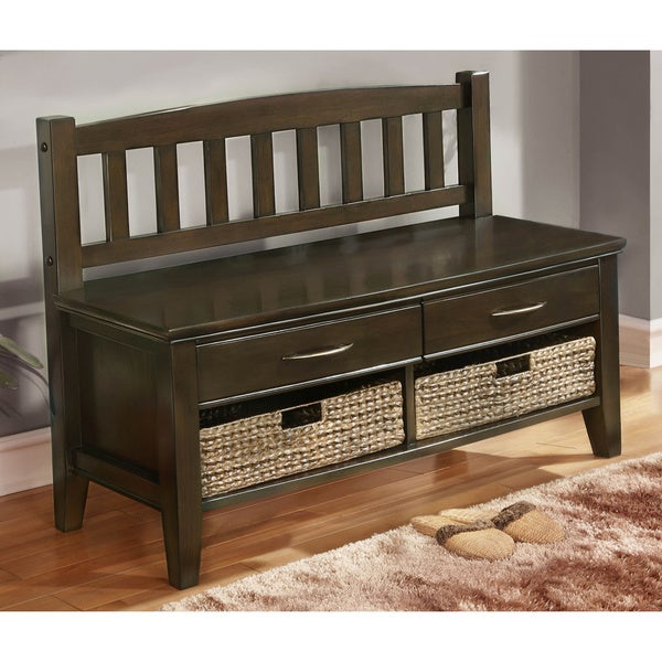 WYNDENHALL Langley Collection Walnut Brown Entryway 4-Drawer Storage Bench