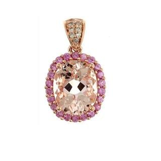 D'Yach 14k Rose Gold Morganite, Pink Sapphire and Diamond Necklace