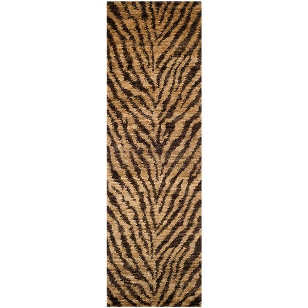 Safavieh Hand-knotted Bohemian Natural/ Black Wool Rug (2'6 x 8')