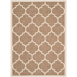 Easy-to-maintain Safavieh Indoor/ Outdoor Courtyard Brown/ Bone Rug (4' x 5'7)