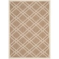 Safavieh Indoor/ Outdoor Polypropylene Courtyard Brown/ Bone Rug (4' x 5'7)