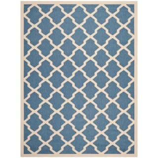Safavieh Indoor/ Outdoor Courtyard Geometric-pattern Blue/ Beige Rug (5'3'' x 7'7'')