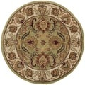 Safavieh Hand-made Classic Green/ Ivory Wool Rug (3'6 Round)