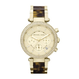 Michael Kors Women's 'Parker' Goldtone Crystal-accented Watch