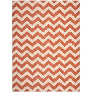 Safavieh Geometric Indoor/ Outdoor Courtyard Terracotta/ Beige Rug (6'7 x 9'6)