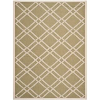 Safavieh Indoor/ Outdoor Courtyard Crisscross-pattern Green/ Beige Rug (8' x 11')