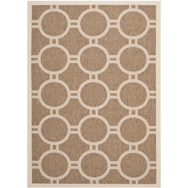 Safavieh Indoor/ Outdoor Courtyard Circle Pattern Brown/ Bone Rug (8' x 11')