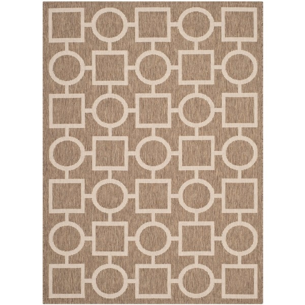 Safavieh Indoor/ Outdoor Courtyard Brown/ Bone Rug with .25-inch Pile (4' x 5'7)