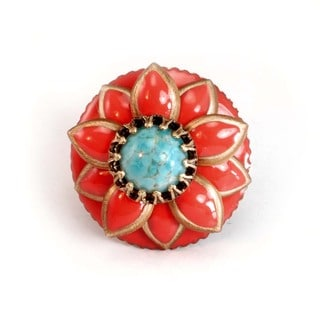 Sweet Romance Bronzetone Glass and Enamel Starflower Ring