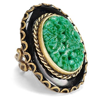 Sweet Romance Bronzetone Carved Green and Black Glass Vintage Ring