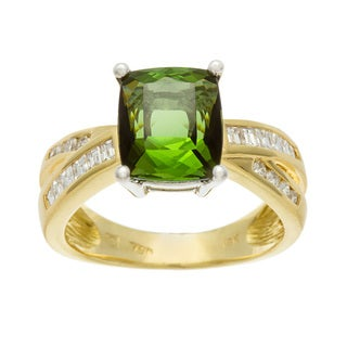 Kabella Luxe 18k Gold Green Tourmaline and 3/8ct TDW Diamond Ring (H-I, SI1-SI2)