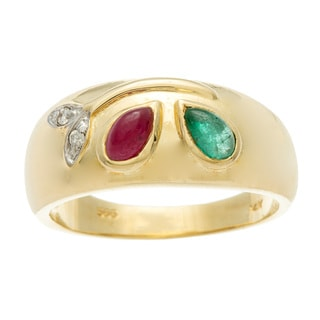 Kabella Luxe Vintage14k Yellow Gold Emerald, Ruby and Diamond Accent Paint Palette Ring