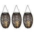 Set of 3 Paradise Solar Powered Grapevine Basket/ Flameless Candle