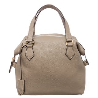 Fendi Taupe Pebbled Leather Satchel