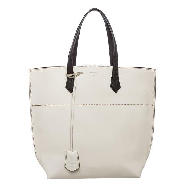 Fendi 'New All In' Cream Leather Tote