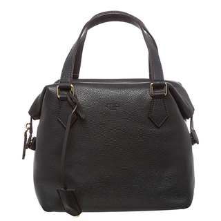 Fendi Navy Pebbled Leather Satchel