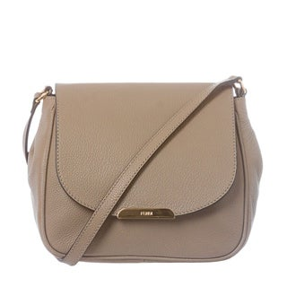 Fendi Taupe Pebbled Leather Crossbody Bag