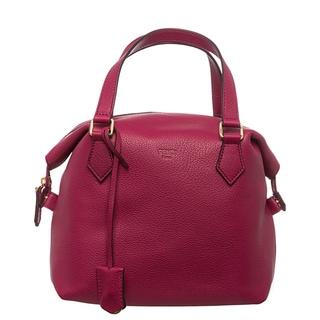 Fendi Raspberry Pebbled Leather Satchel