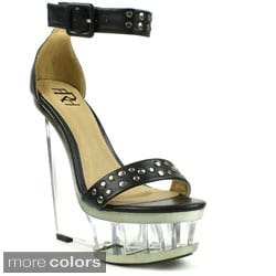 Fahrenheit Women's 'Naya-03' Studded Lucite Wedge Sandals