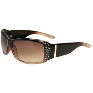Envy Women's 'Ginger' Brown Gradient Rhinestone Sunglasses
