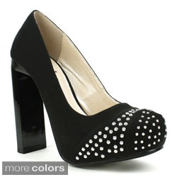Fahrenheit Women's 'Kelly-03' Studded Cap-toe Platform Pumps