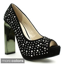 Fahrenheit Women's 'Kelly-01' Bejeweled Peep-toe Pumps
