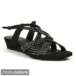 Mark & Maddux Women's 'Jimmy-01' Rhinestone/ Satin Wedge Sandals