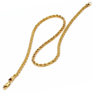 Oliveti Men's Goldplated Stainless Steel Men's 24-inch Rope Chain (4 mm)