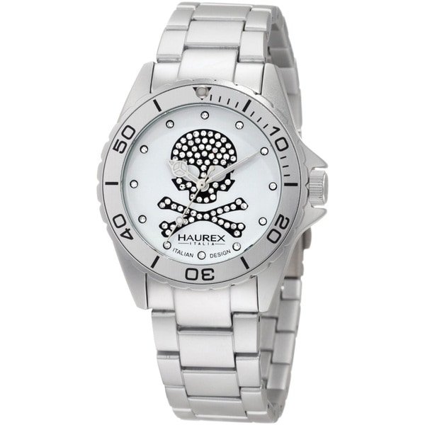 Haurex Italy Women's 'Ink' Crystal-accented Skull Dial Watch