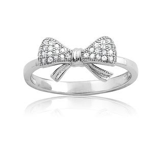 La Preciosa Sterling Silver Small CZ Bow Ring